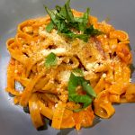 Relay Foods Creamy Red Pepper and Tomato Basil Pasta