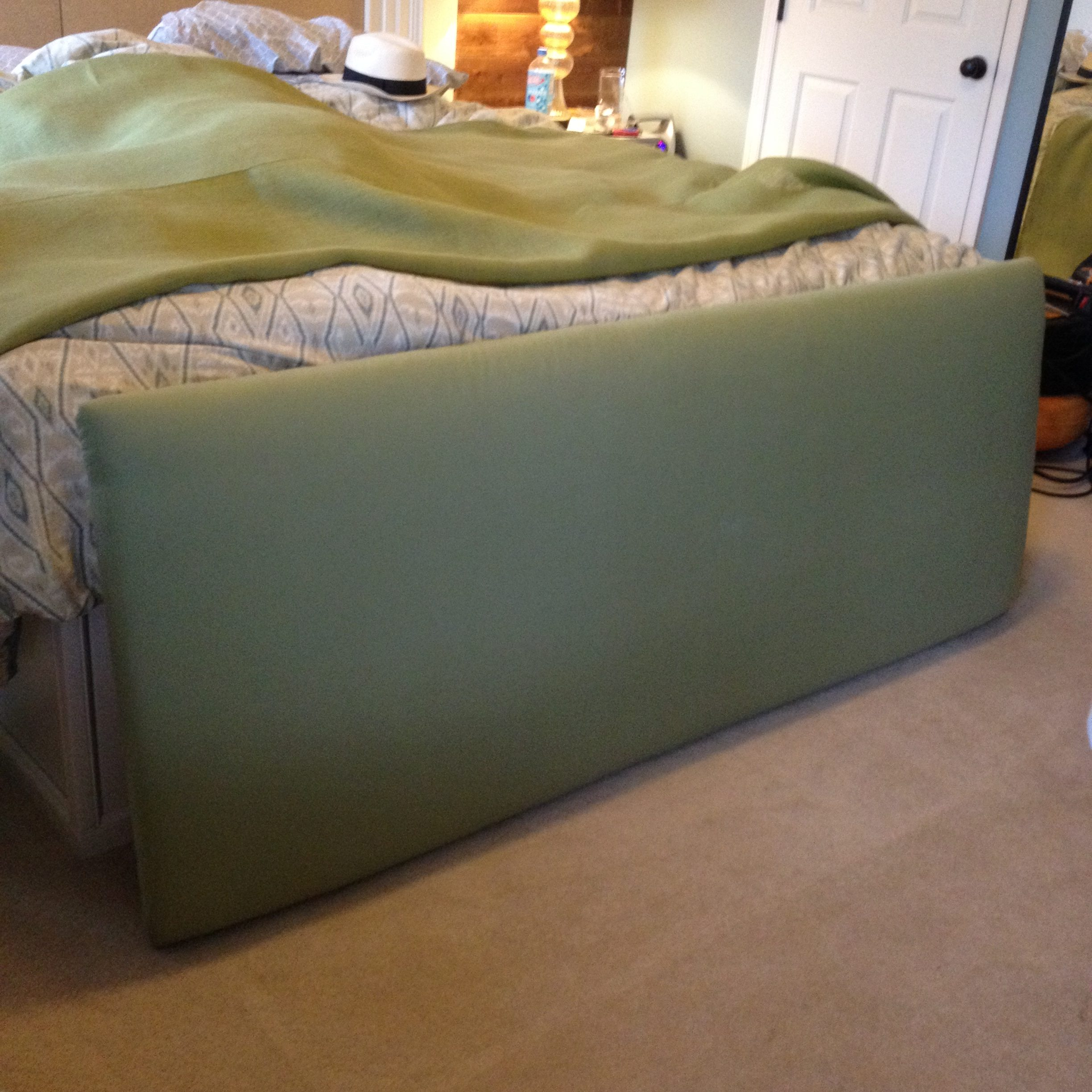 Green Fabric Backer Added to Tufted Piece