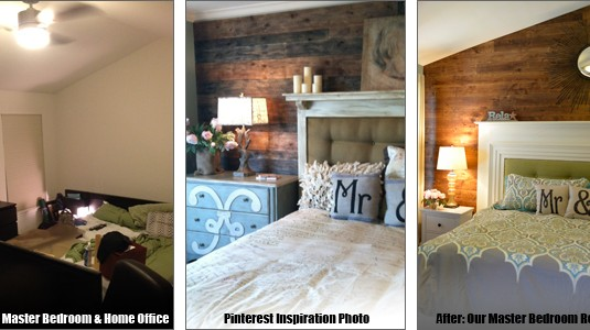 Master Bedroom Retreat: Wood Accent Wall & Upcycled Mantel Headboard