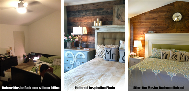 Master Bedroom Retreat Wood Accent Wall Upcycled Mantel Headboard Saving Amy