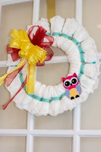 Baby Shower Door Diaper Wreath