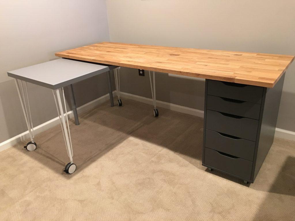 IKEA Hack Rolling Desk Table