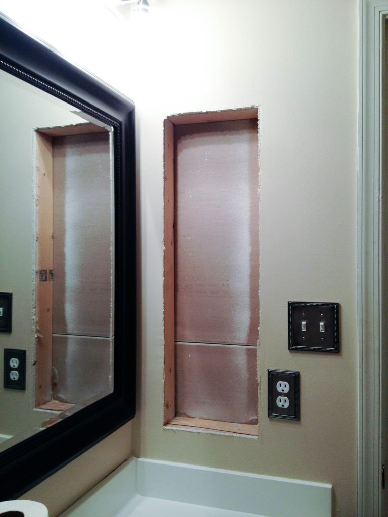 Replace recessed medicine cabinet with shelves bathroom for Replacing bathroom cabinets