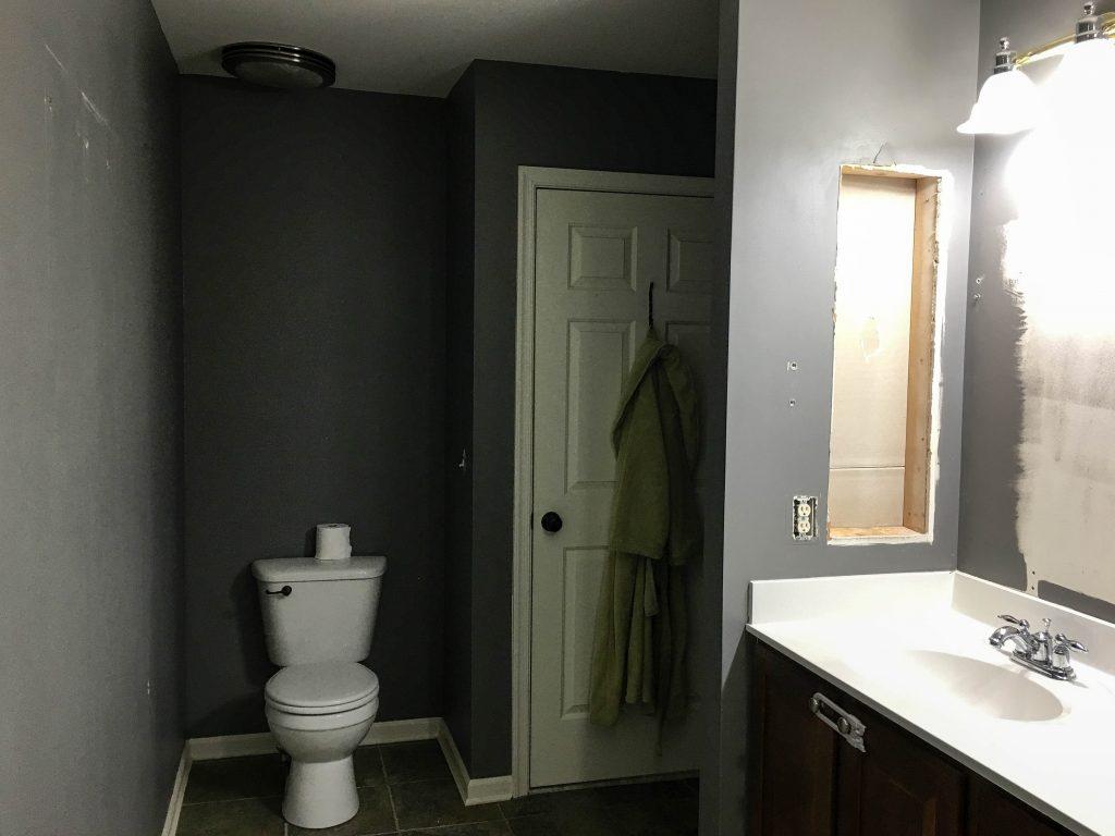 Before: Master Bathroom Recessed Cabinet Void