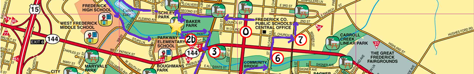 Frederick City Hike Route Map