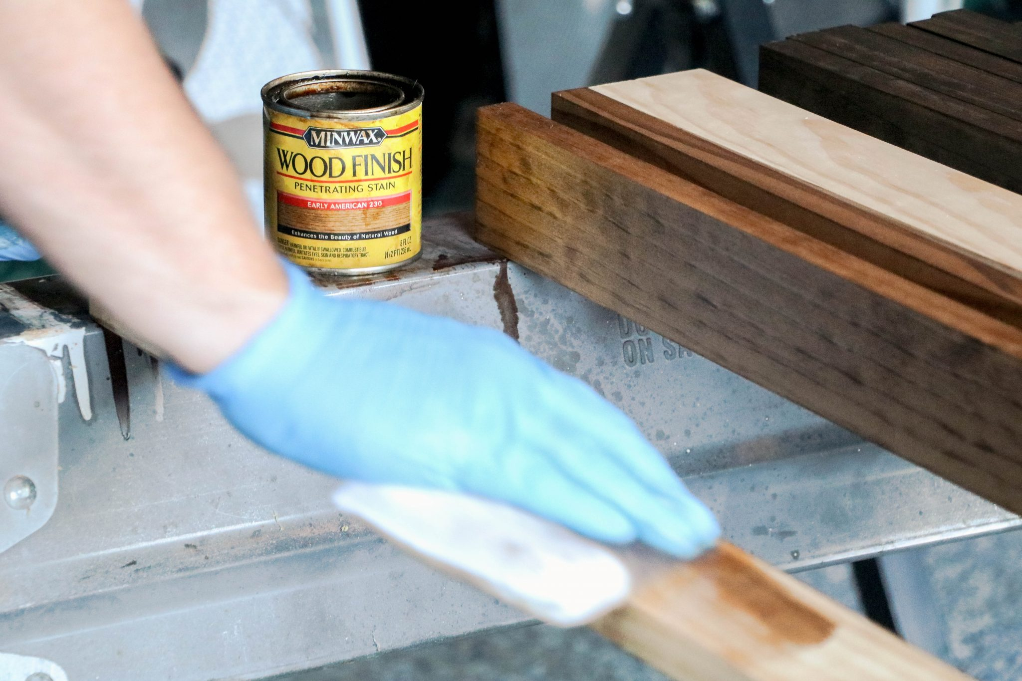 "1"" x 3"" Boards Get Early American or Espresso Minwax Treatment, Then Poly"