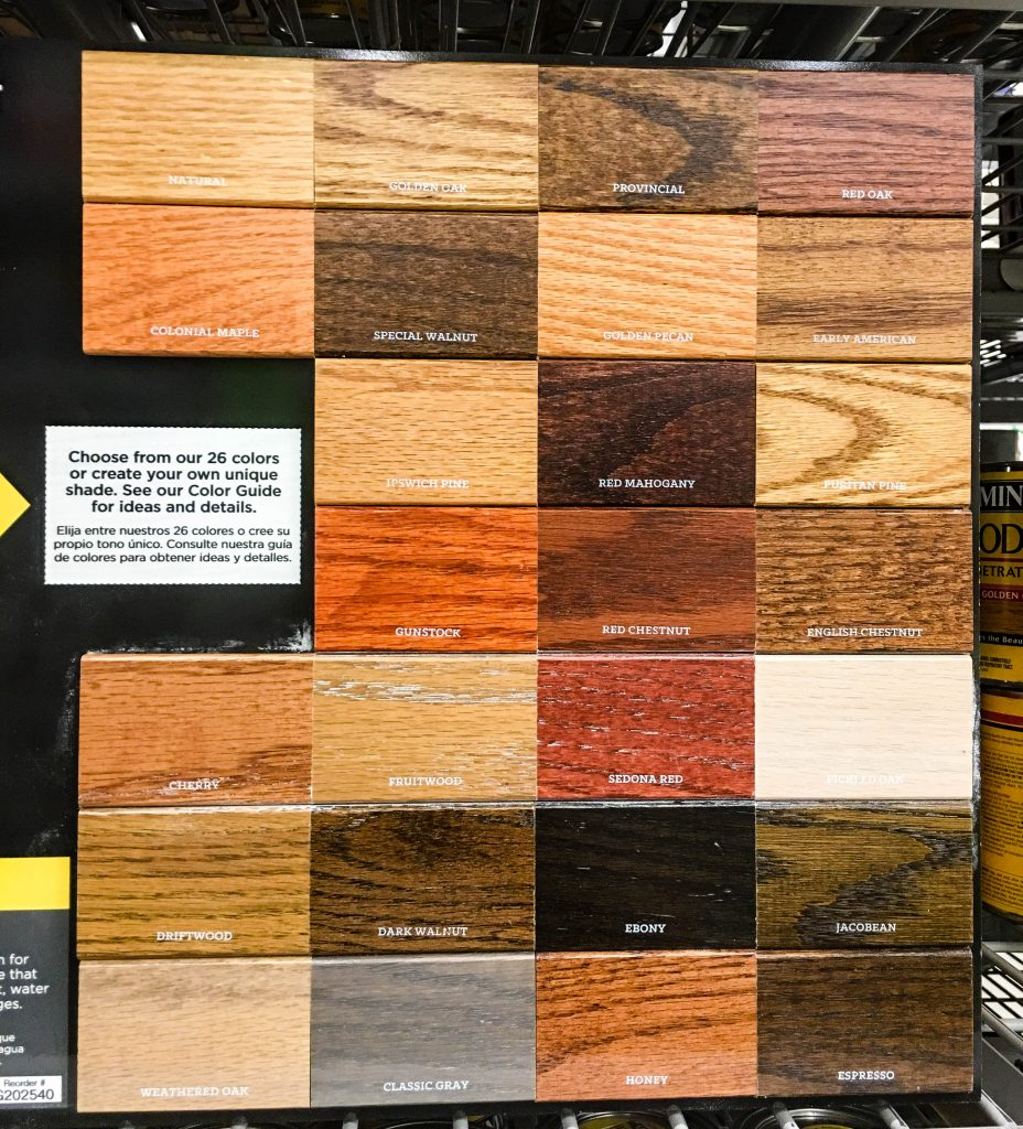 Minwax Standard Wood Stain Color Chart