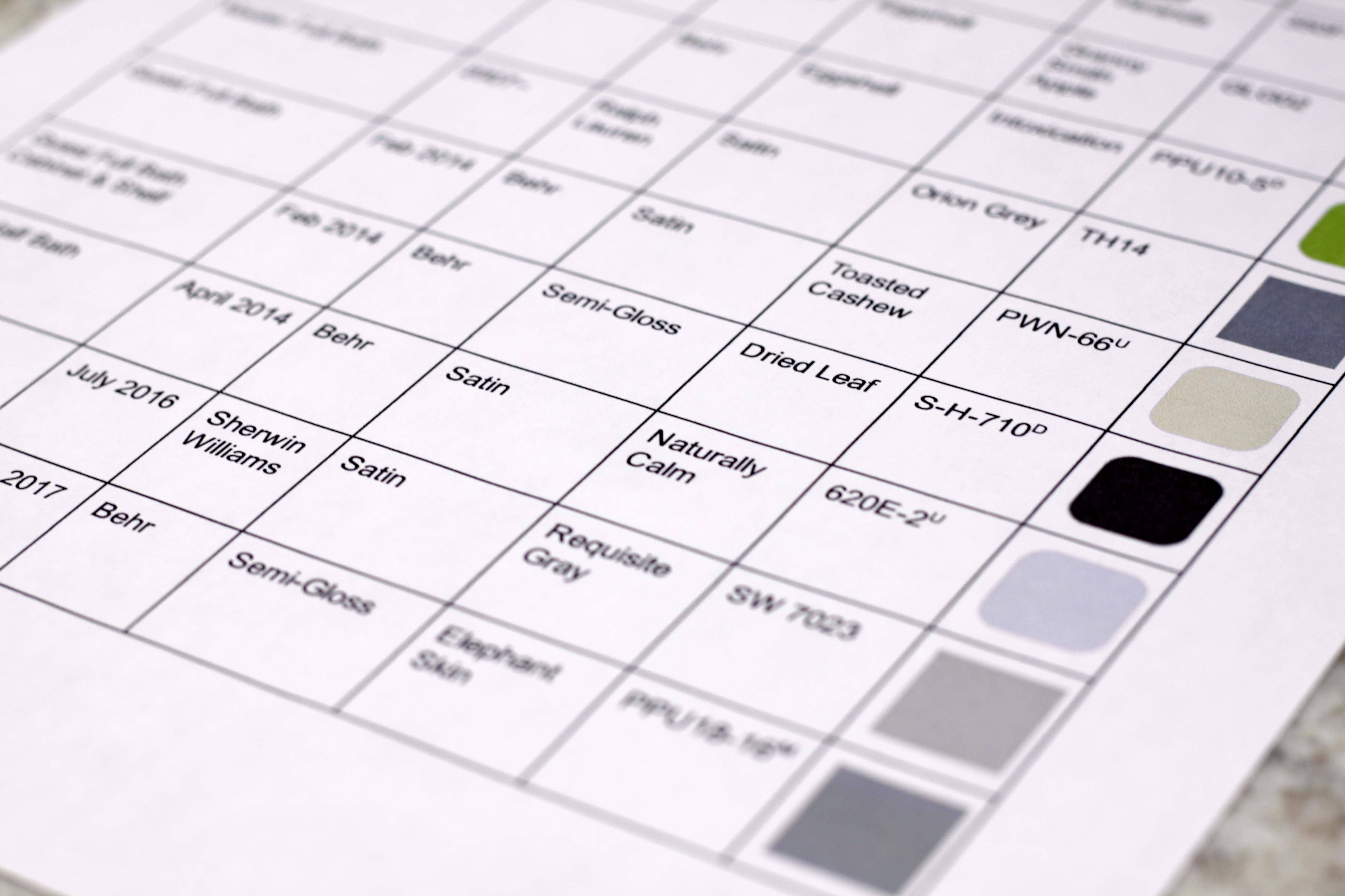 House Paint Swatch Chart Template on Google Drive [Free